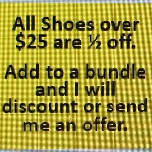 Half off shoes over $25.